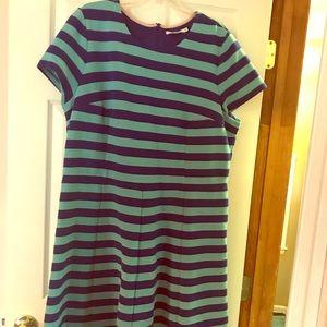 BODEN Ponte Knit Striped Short-Sleeved Dress